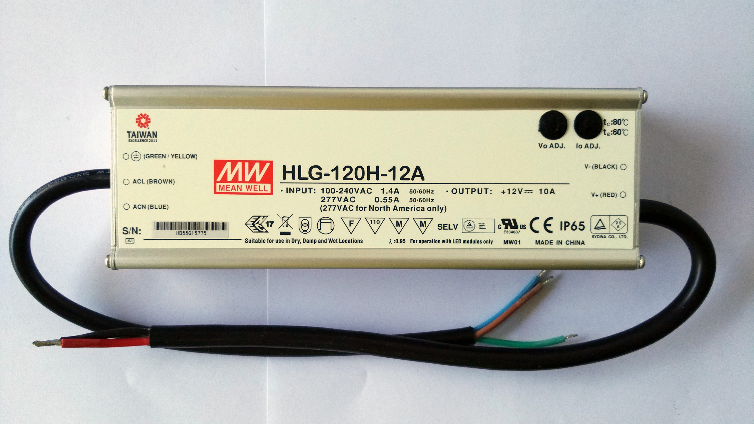 Meanwell_waterproof_dimmable_HLG_120H_12A_power_supply