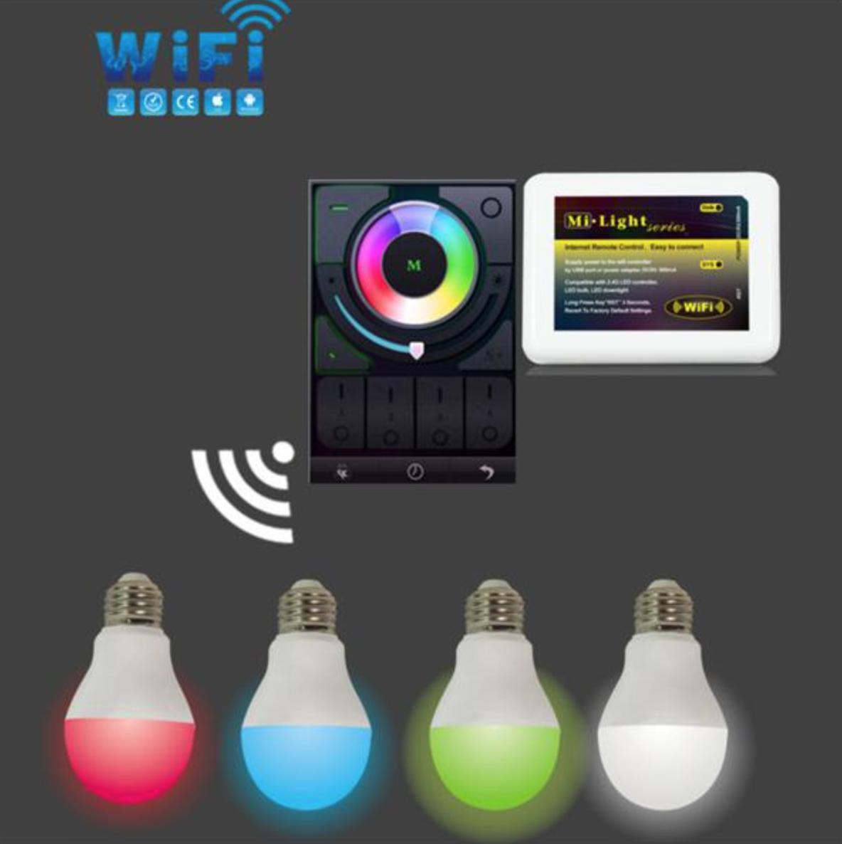 RF_WiFi_wireless_control_6W_RGBW_LED_bulb_with_WiFi_controller
